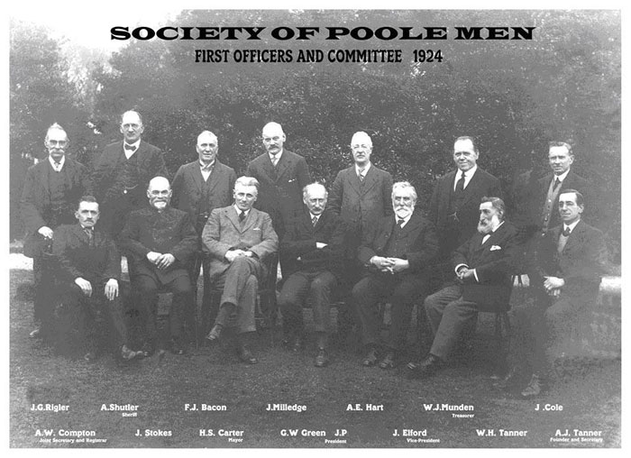 First Officers And Committee 1924 - Society Of Poole Men